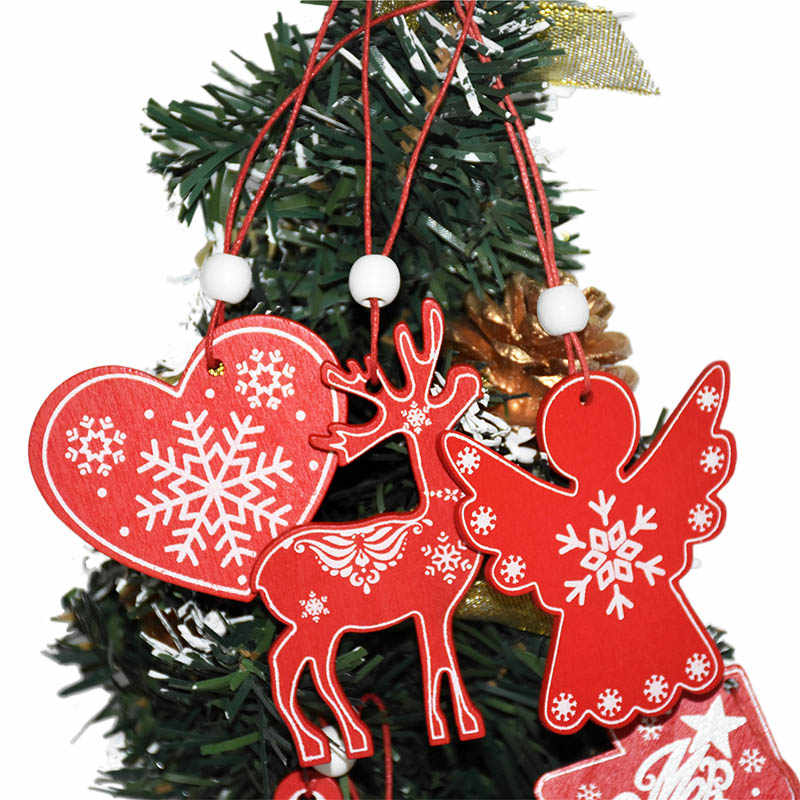 Pack of 6pcs Wooden Crafts Angel Snowflake Deer Christmas Tree Hanging Ornaments for Holiday Xmas New Year Decorations 6AHM001