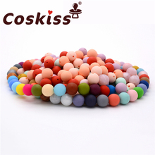 Coskiss 100pcs Food Grade Round Silicone Beads 12mm Baby Teething Necklace Toy D