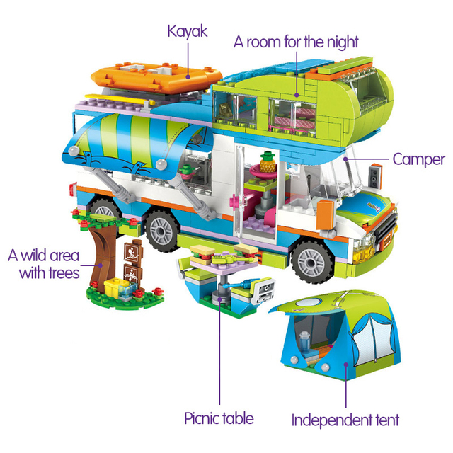 Bloques de construcción de automóviles 534 Uds compatibles con Friends City Outing Camper Bus Mia juguetes educativos para niñas