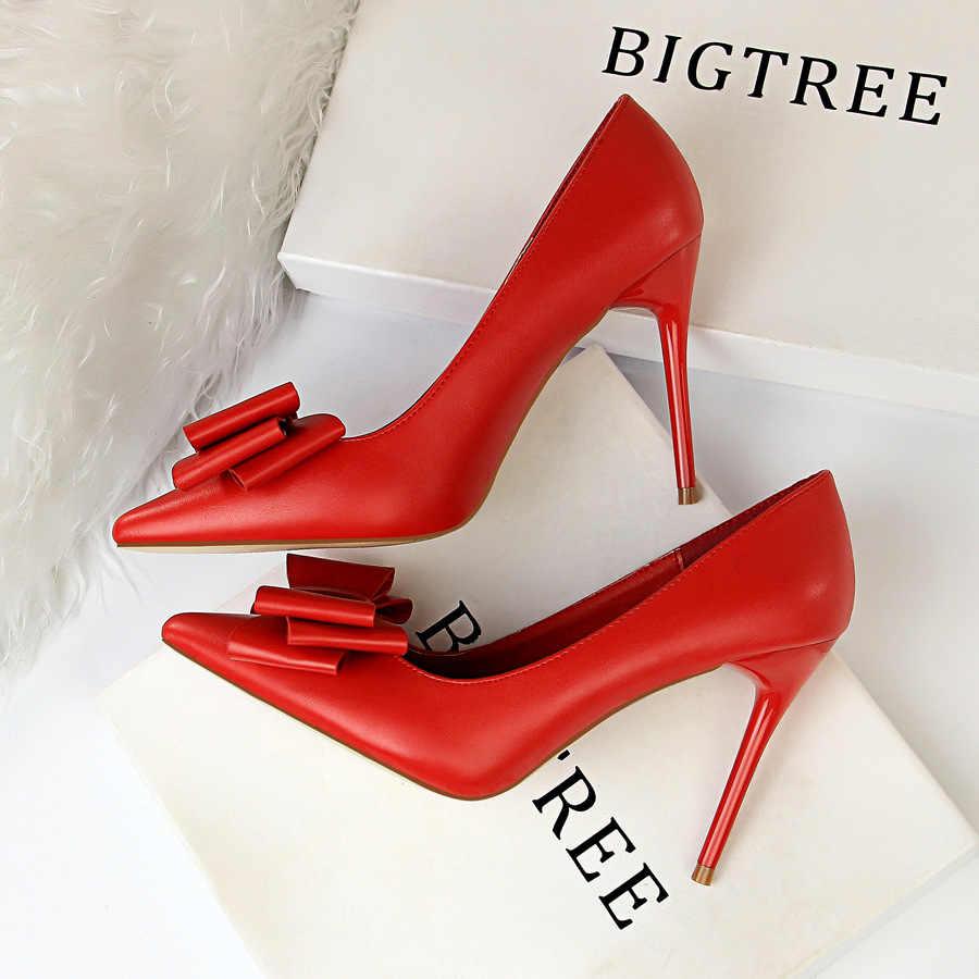 Topuk ayakkabı kadın yay yüksek topuklu ayakkabılar kadın ince topuklu boyutu 42 43 mat noktası pembe mavi pompaları zarif kadın ayakkabısı