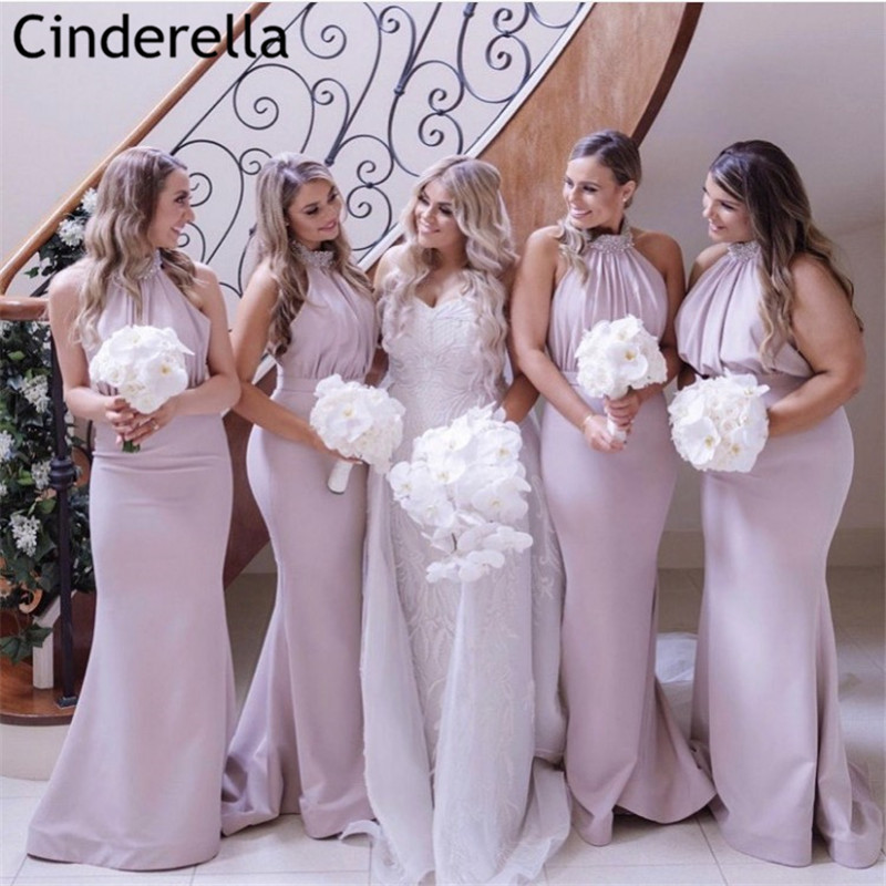 Lovely Pink Halter Crystal Beaded Floor Length Satin Mermaid Bridesmaid Dresses Zipper Back Wedding Party Bridesmaid Gowns