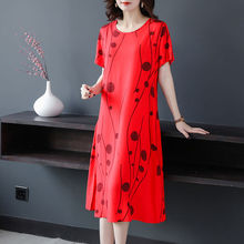 2021 New Summer Middle Aged Women Cotton Linen Short Sleeves Dresses Female Fashion Korean Mother Plus Size Printing Dresses K02