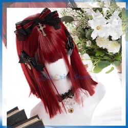 Sereia vermelho lolita peruca harajuku sakura doce 30cm longo cabelo reto comprimento do ombro franja franja franja adulto meninas morango cabelo