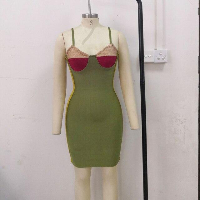 Kim Kardashian High Quality Vintage Green Colorblock Khaki Burgundy Bra-style Neckline Bustier Bodycon Party Dress Vestidos 6