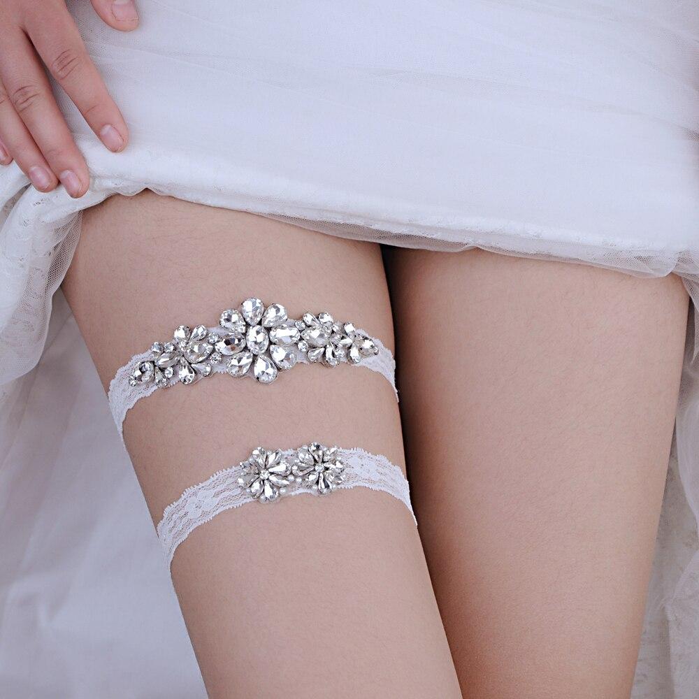 Un Estilo Holibanna Ligas Nupciales Estiramiento Encaje Mariposa El/ástico Cristal Perla Accesorios de Pierna para Mujer de La Boda