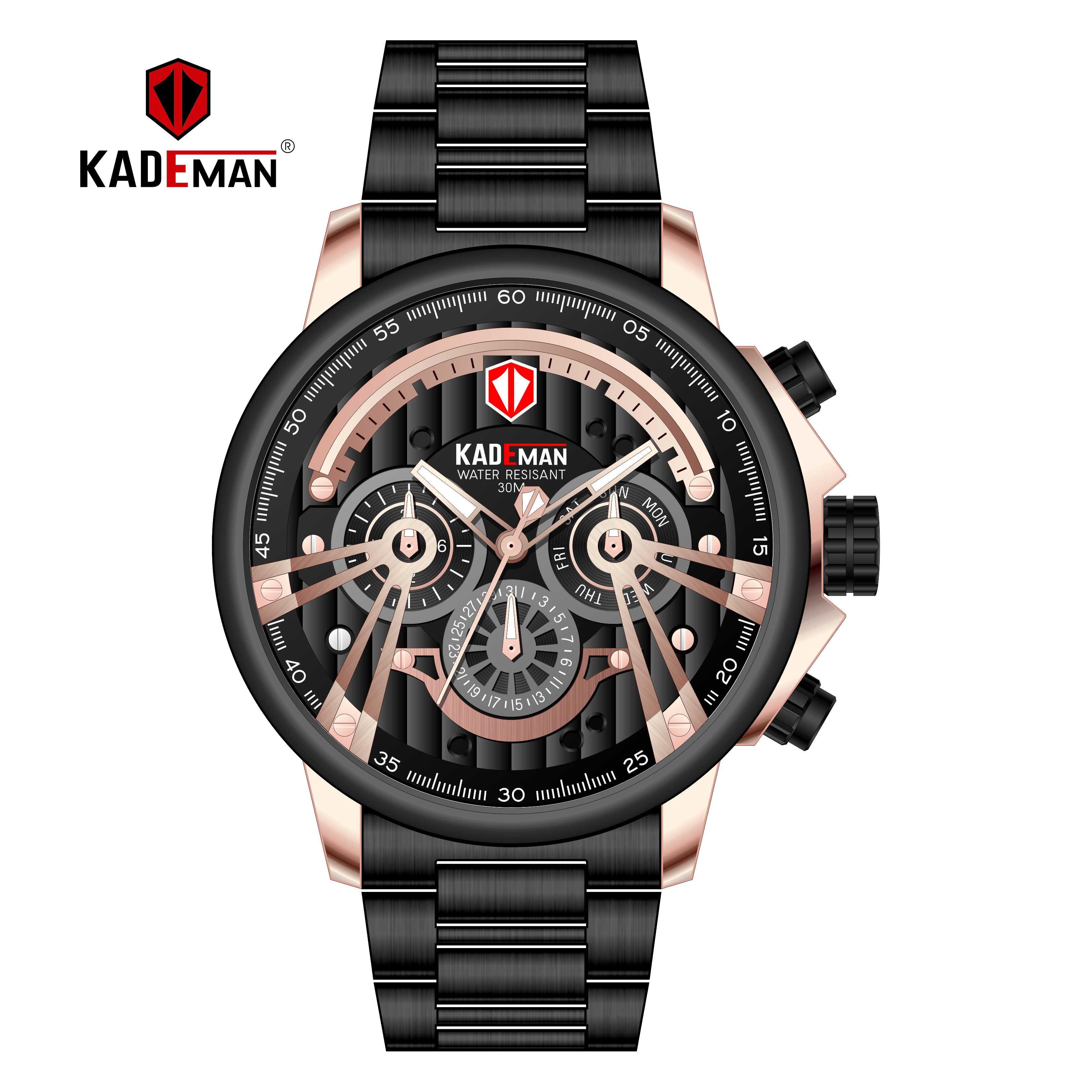 Top Luxury Brand KADEMAN Men's Watch Date Week Display 6 Hands with Function Steel Strap Waterproof Relogio Masculino