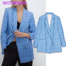 Withered ins fashion blogger office lady vintage double breasted tweed blazer wo