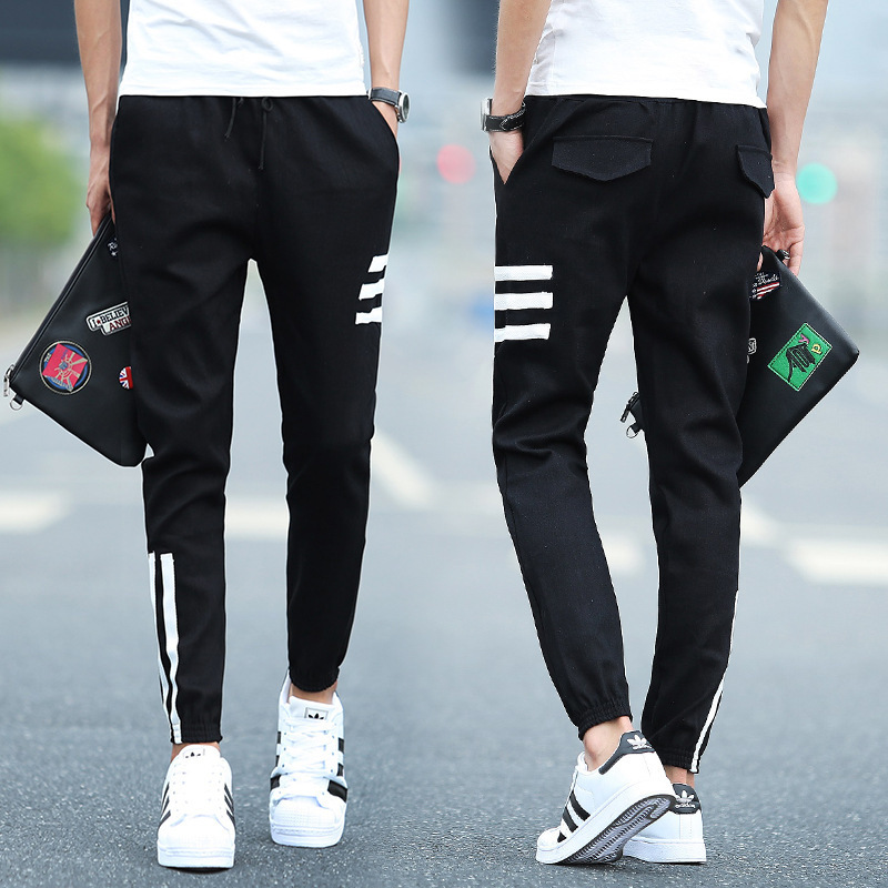 2018 Students Skinny Sports Ninth Pants Teenager Summer Men's 9 Points Casual Pants Summer Trousers