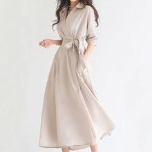 2020 sólido vestido longo feminino meia manga turn down collar feminino estilo coreano roupas novo verão escritório senhora vestidos de trabalho