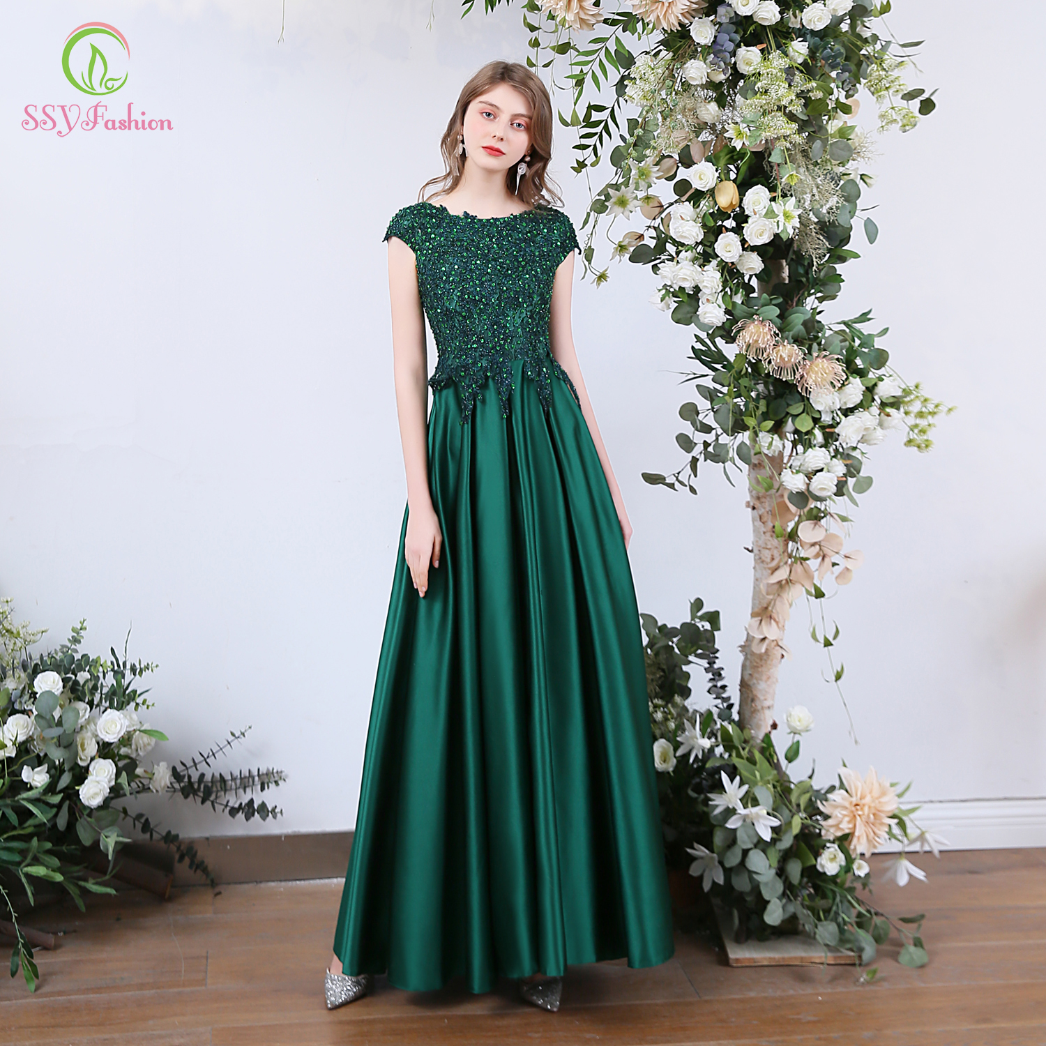 SSYFashion New Luxury Evening Dress Banquet Elegant Green Satin Lace Sequins Long Formal Party Gowns Special Occasion Dresses