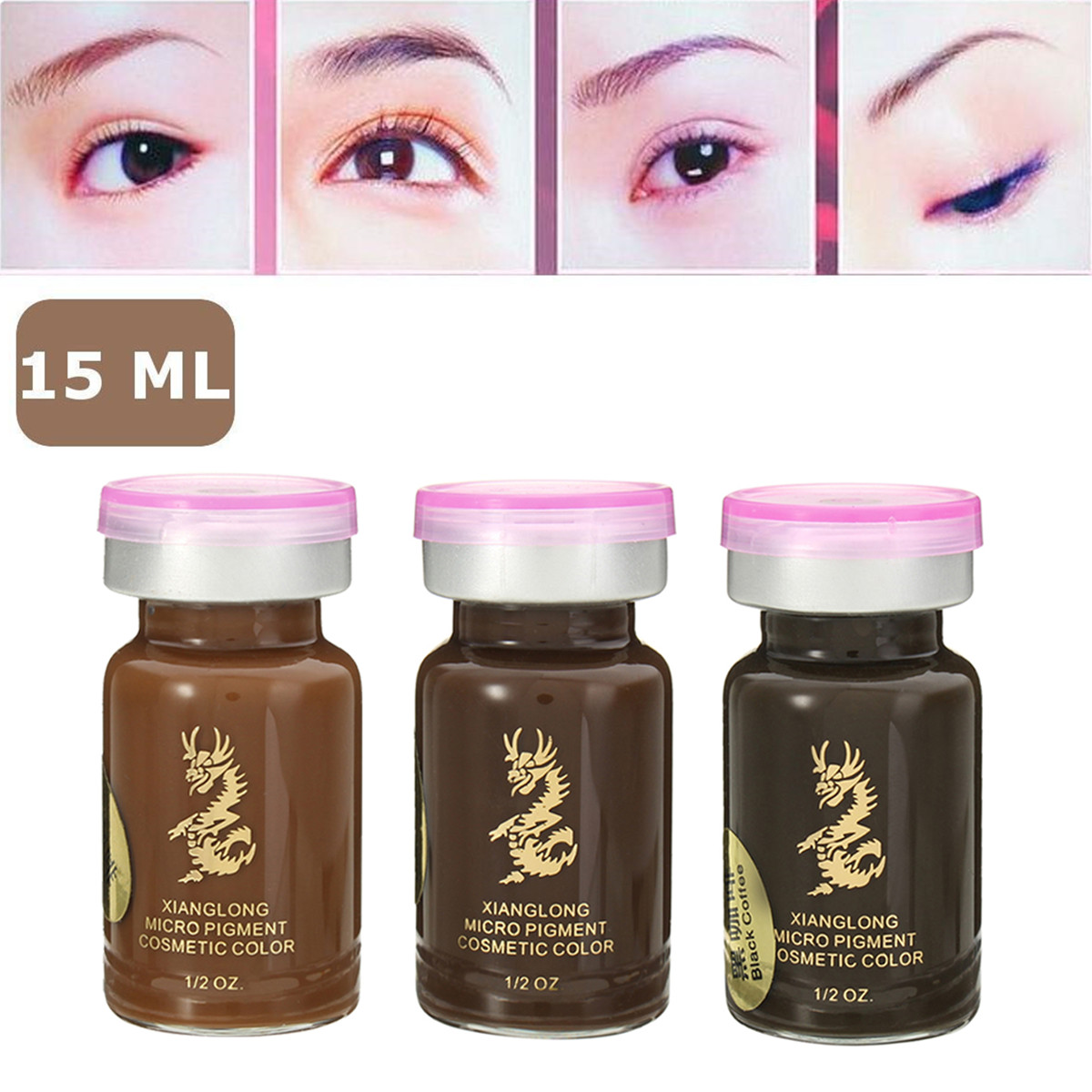 Semi-Permanent Eyebrow Tattoo Ink Professional Makeup Pigment 3D Micropigmentation Brows Ink Emulsions 3 Colors 15ml