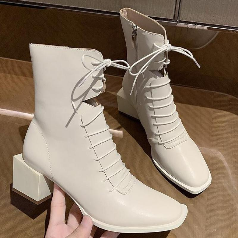 Elegant Square Toe Shoes Woman Genuine Leather Cross Tied High Heels Ankle Boots For Women Wedding Party Winter Shoes