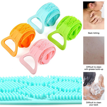Shower Strap Silicone Back Scrubber Soft Loofah Bath Towel Bath Belt Body Body Exfoliating Massage For Shower Cleaning Bathroom image