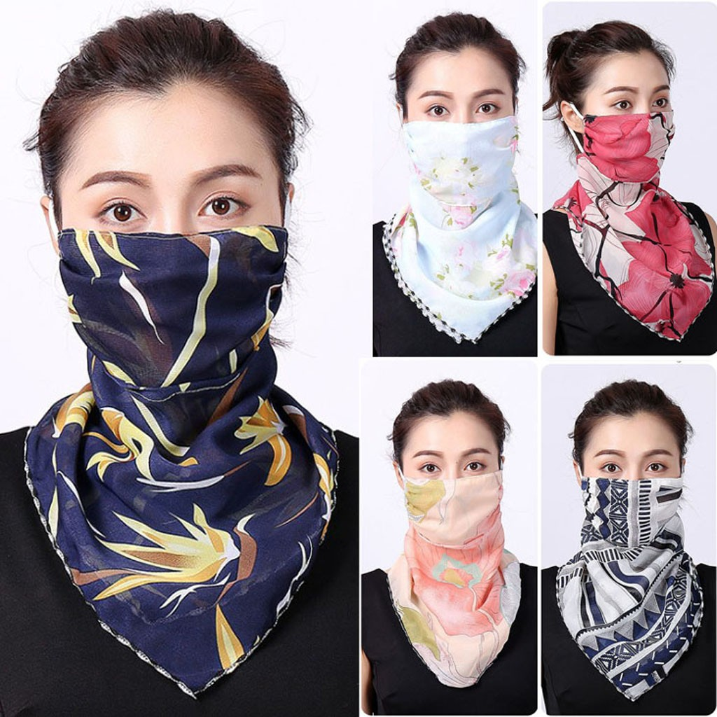 2020 Women Casual Sunscreen Mask Neck Scarf Mask Chiffon Print Thin Mask Scarf Riding Masks Protective Silk Scarf Handkerchief