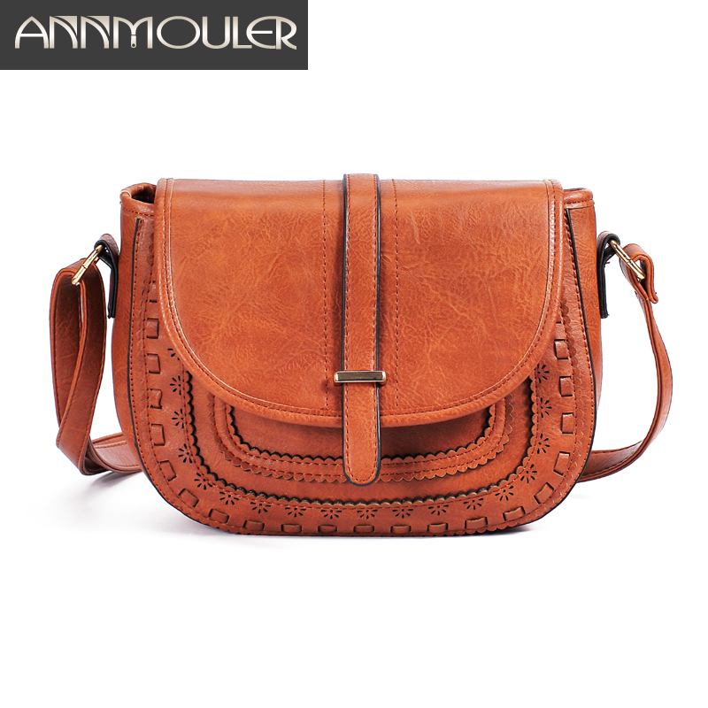 Annmouler Vintage Shoulder Bag Pu Leather Crossbody Bag 6 Colors Messenger Bag Ladies Handbag Hollow-out Small Bag Purse
