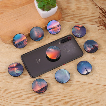 Universal night sky beach airbag mobile phone holder round foldable mobile phone holder lazy mobile phone holder for iPhone dot print round gasbag phone holder