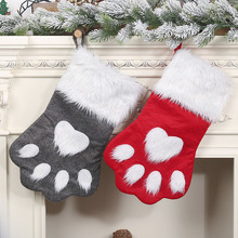 Christmas items DIY Stockings Pet Paw Fireplace Hanging Gift Bags 1pcs for Holiday Xmas New Year Decorations