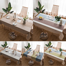 Table Cloth Rectangular Linen Tablecloth with Embroidery Decorations for Parties Weddings and Events Household Items 5 Colors cheap home Outdoor hotel Party Banquet Plaid Plain Dyed Pastoral 100*140 Blending Knitted Rectangle YMQ002