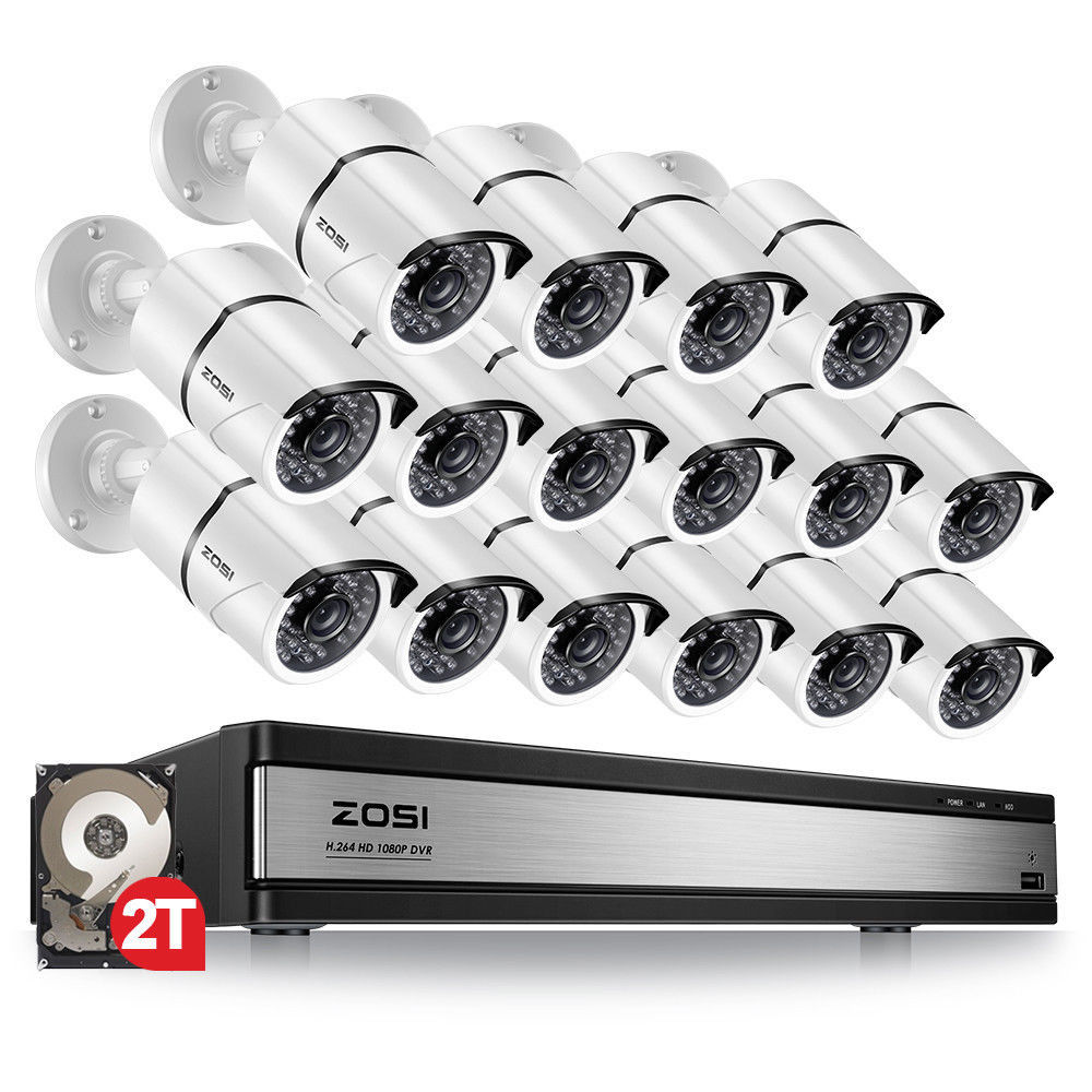 ZOSI 1080p 16CH Video Surveillance System with 16pcs 2 0MP Night Vision Outdoor Indoor Home Security Cameras 16CH CCTV DVR Kit