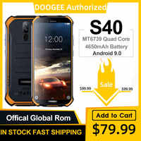 DOOGEE S40 IP68 IP69K teléfono móvil 5,5 pulgadas pantalla 4650mAh MT6739 Quad Core 3GB RAM 32GB ROM Android 9,1 8.0MP Cámara 4G Red