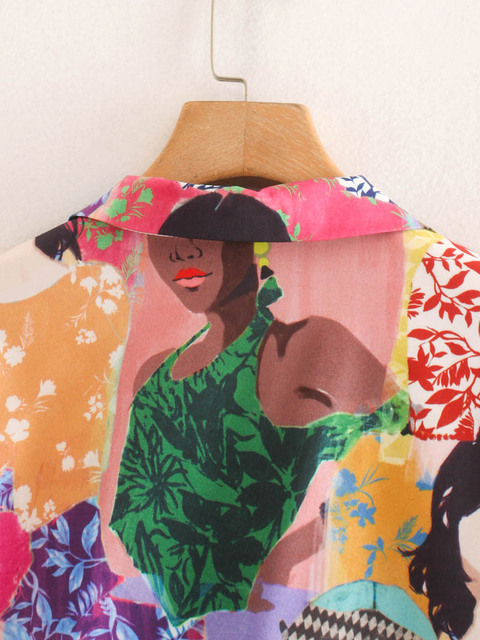 CS957 Summer Stylish Notched Neck Short Sleeve Character Print Blouse Colorful Shirts Blusas Women Clothing 4