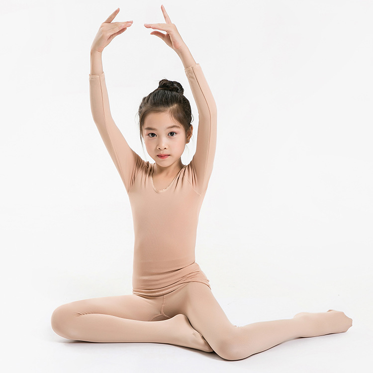 Children Dance Base Shirt Spring And Autumn Girls Fleshcolor Invisible Underwear Flesh Color Thermal Underwear Tights Exercise C