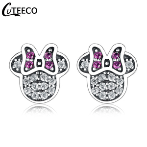 CUTEECO 2019 New Purple Zircon Cartoon Minnie Earrings for Women Sparkling Crystal Stud Earring Fashion Jewelry Pendientes(China)