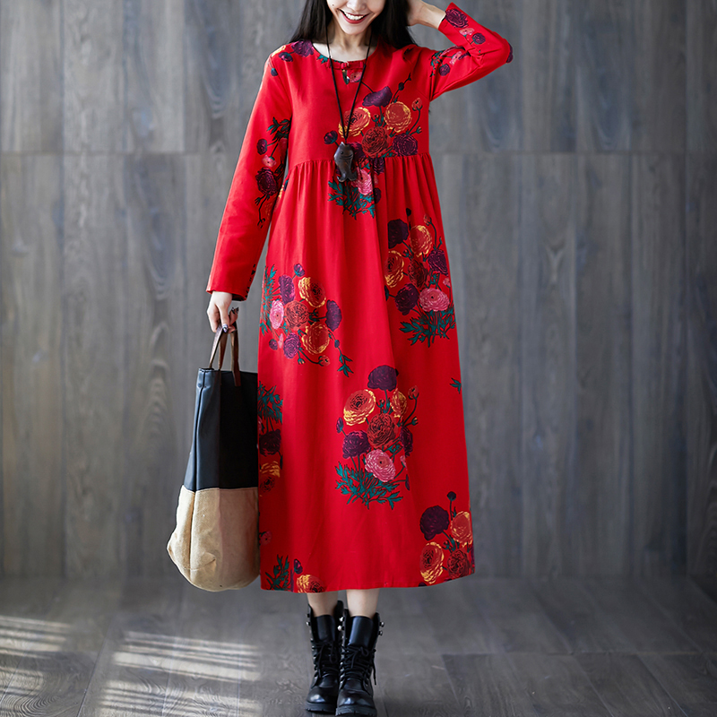 Women/'s linen dress Floral dress for women Linen printed sheep dress Stylish loose fit outfit Linen summer dress White floral linen dress