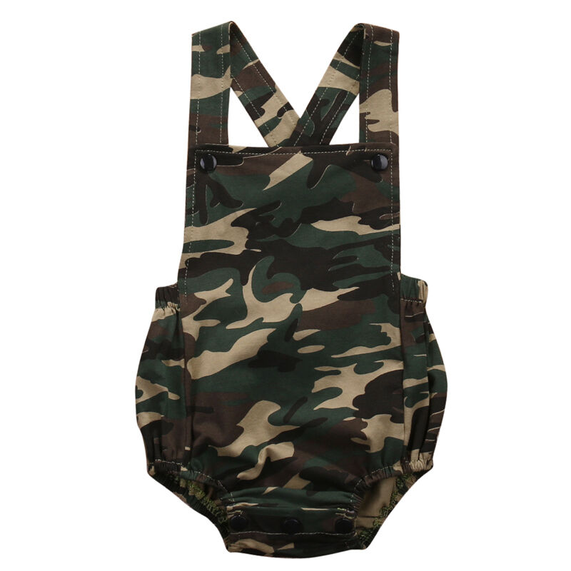 PUDCOCO Newborn Baby Girl Boy Camo Jumpsuit Bodysuit Clothes Outfits 0-18M Summer