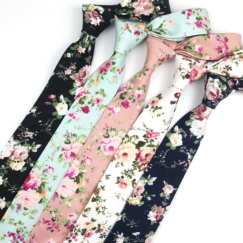Mens Tie 6cm 100% Cotton Printed Flower Floral Neck Ties  For Men Women