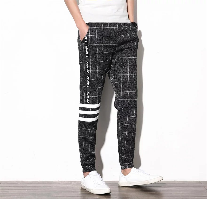 Summer Korean-style Men Stripes Slim Fit Pants Library Men's Cool Trend Hair Stylist Casual Plaid Capri Pants
