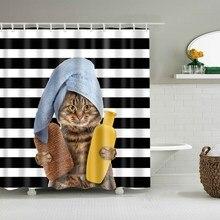 ผ้าม่านแมวตลกแมวแมวสำหรับห้องน้ำแมวแปรงฟันการออกแบบกันน้ำป้องกันโรคราน้ำค้างม่านอาบน้ำการ์ตูน