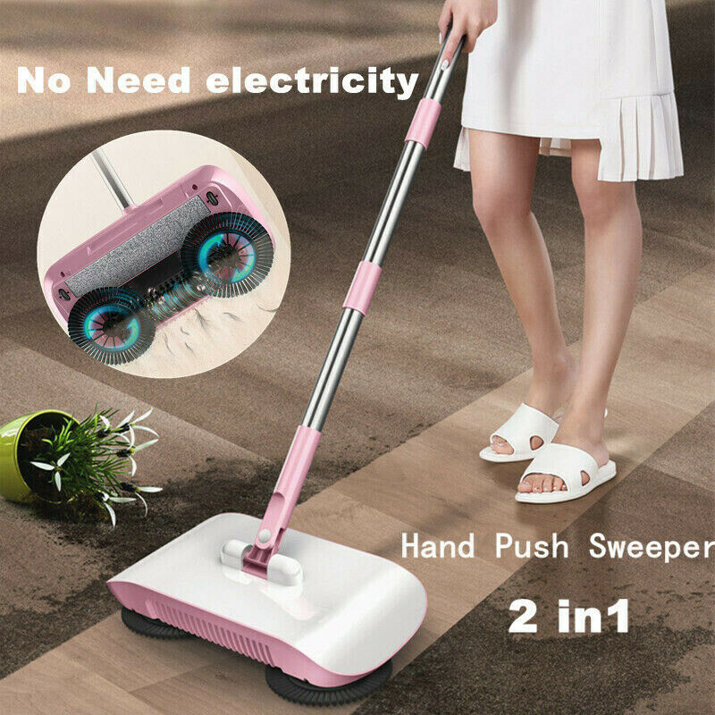 Sweeping Machine Push Type Hand Push Magic Broom Dustpan Stainless Steel Handle Household Floor Cleaning Hand Push Sweeper Mop
