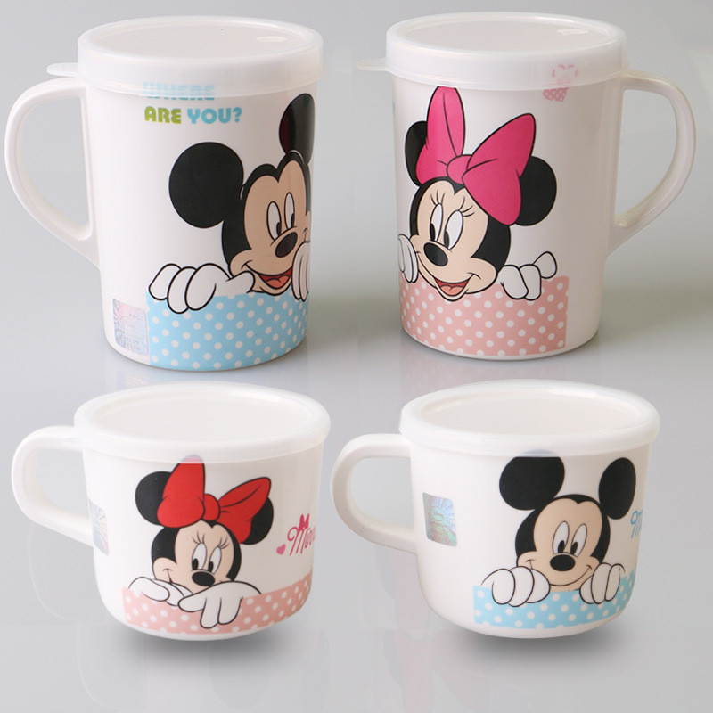 200ml 260ml Disney Mickey Minnie Cartoon Cup Cute Baby Water Milk Mug Children Glass  With Lid And Ear Kindergarten Tableware