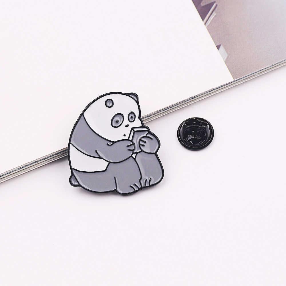 Hewan Gambar Kartun Pin Telanjang Beruang Lucu Grizzly Panda Es Beruang Denim Enamel Kawaii Kerah Bros Lencana Fashion Aksesoris Hadiah