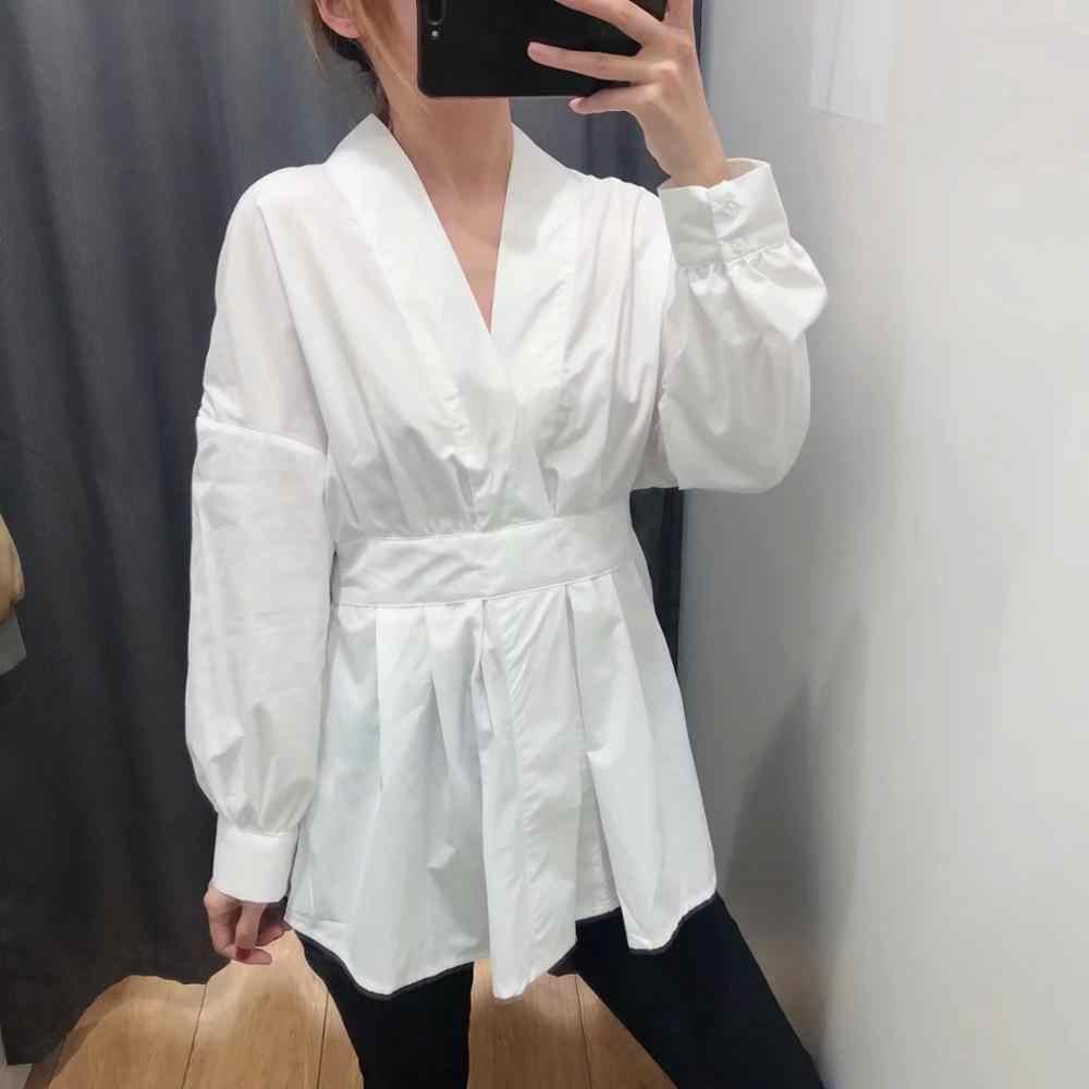 ZA delle donne del vestito croce Con Scollo A V vita sottile stile minimalista chic delle signore elegante sottile pieghettato il vestito abiti da donna