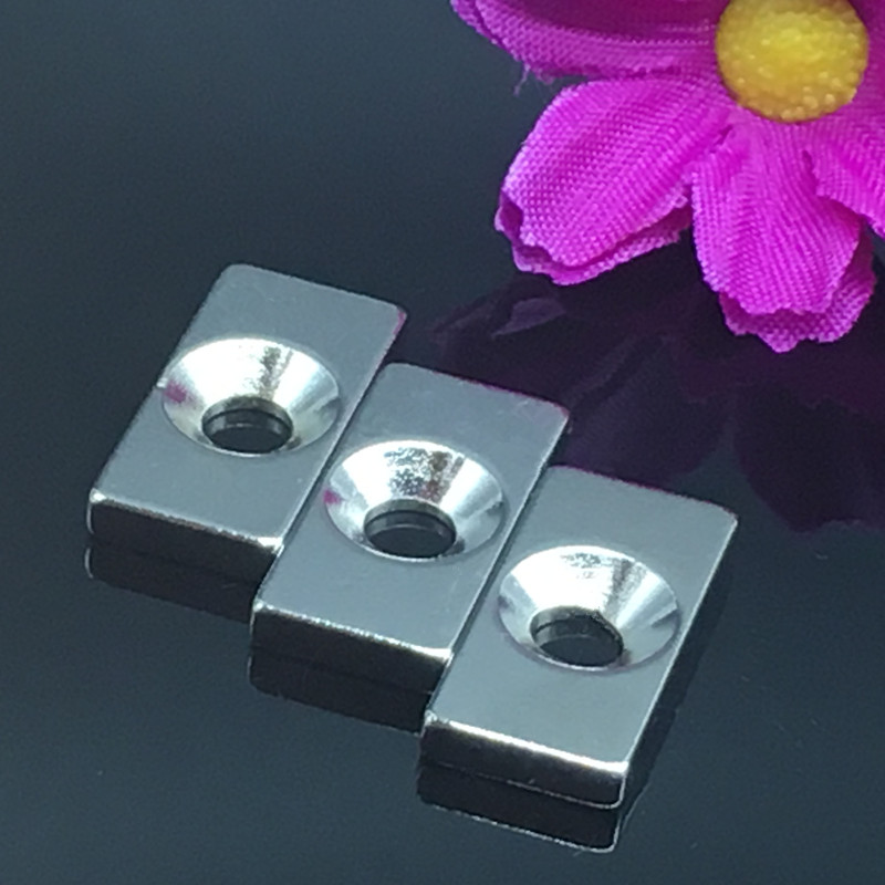 10pcs/lot 20 X 10 X 3mm 4mm Hole N35 Super Rare Earth 20*10*3 Strong Block Neodymium Magnet Free Shipping