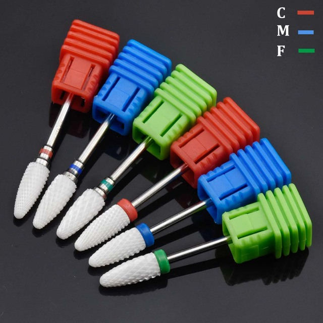 15 Type White Ceramic Nail Drill Bits Milling Cutter For Electric Drill Manicure Machine Accessory Nail Files Art Tools 4
