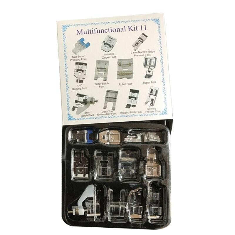 11 шт. прижимные лапки для шитья, набор многофункциональных прижимных лапок для швейной машины, набор для шитья 87HA
