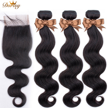 Body Wave Human Hair Bundles With Closure Brazilian Human Hair Weave Bundles With Lace Closure Double Wefts Hair Extensions 7a grade brazilian virgin hair extensions body wave no shedding brazilian human hair weave bundles 3pcs lot free shippng