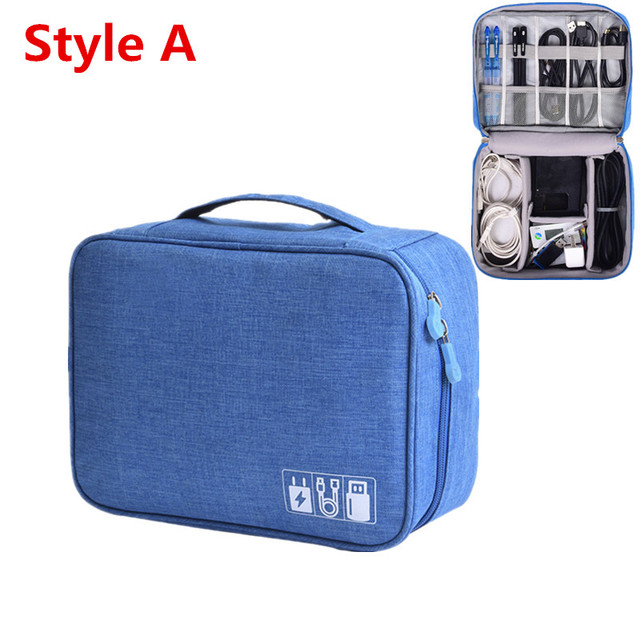 Travel Accessory Digital Bag Power Bank USB Charger Cable Earphone Storage Pouch Large Shockproof Electronic Organizer Package 6
