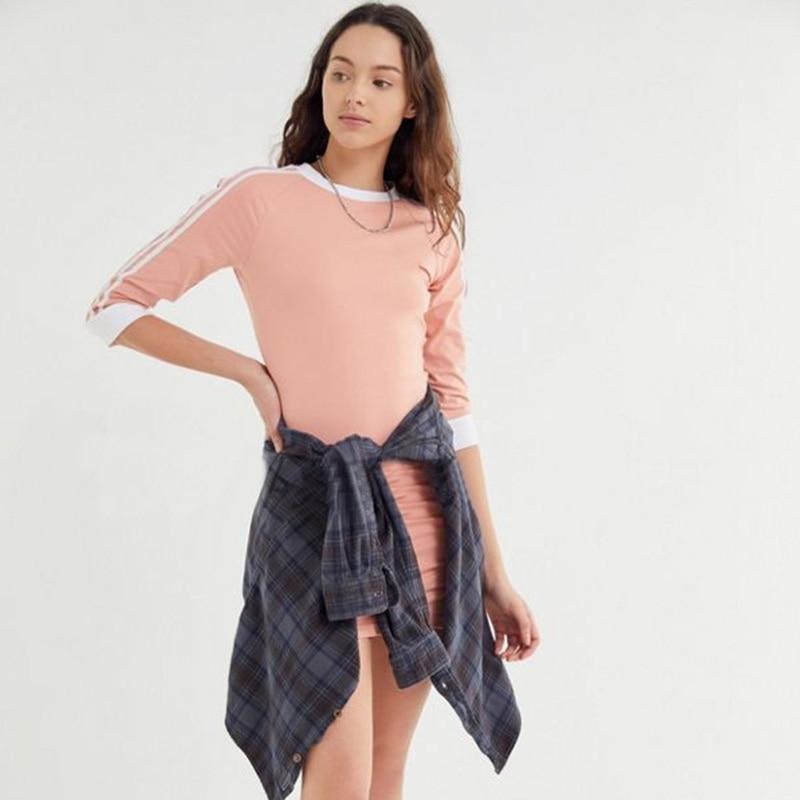 2019 Autumn Winter Women Dress Vintage Long Sleeve Three Quarter Striped Cotton Casual Sexy Pink Dress For Women Vetidos Female