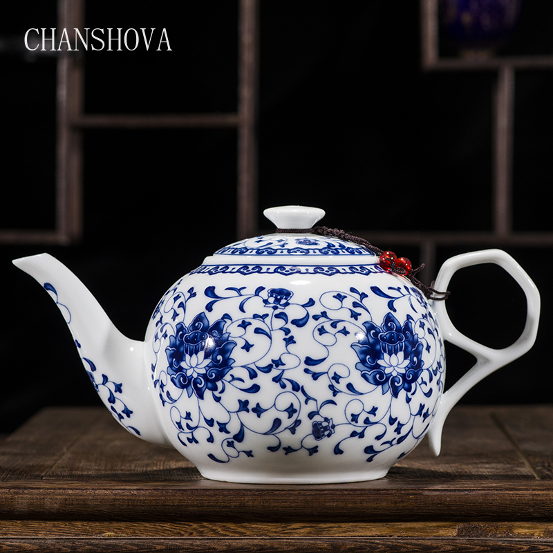 CHANSHOVA China Blue and white thin porcelain teapot High capacity 320ML 1L Ceramic tea pot traditional chinese tea set|Teapots| - AliExpress