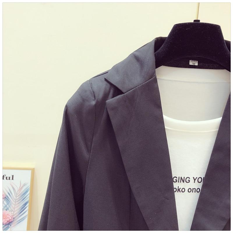 Women Blazer 2020 Spring Summer Lady Office Work Suit Casual Single Button Jackets Coat Slim 3/4 Sleeve Black Blazer Femme