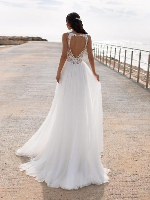 Bohemian Wedding Dress Lace 2021 Split Tank Organza Sleeveless A-Line Vintage Civil Bridal Gown Boho Charming Robe Unique Design 3
