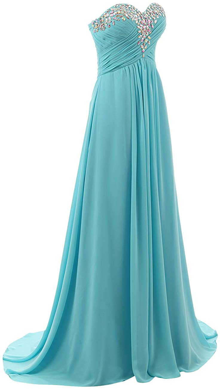 Wedding Dresses Brides A-Line/Princess Sweep/Brush Train Sweetheart Open Back Chiffon Dress For Bridesmaid With Crystal/Ruffles
