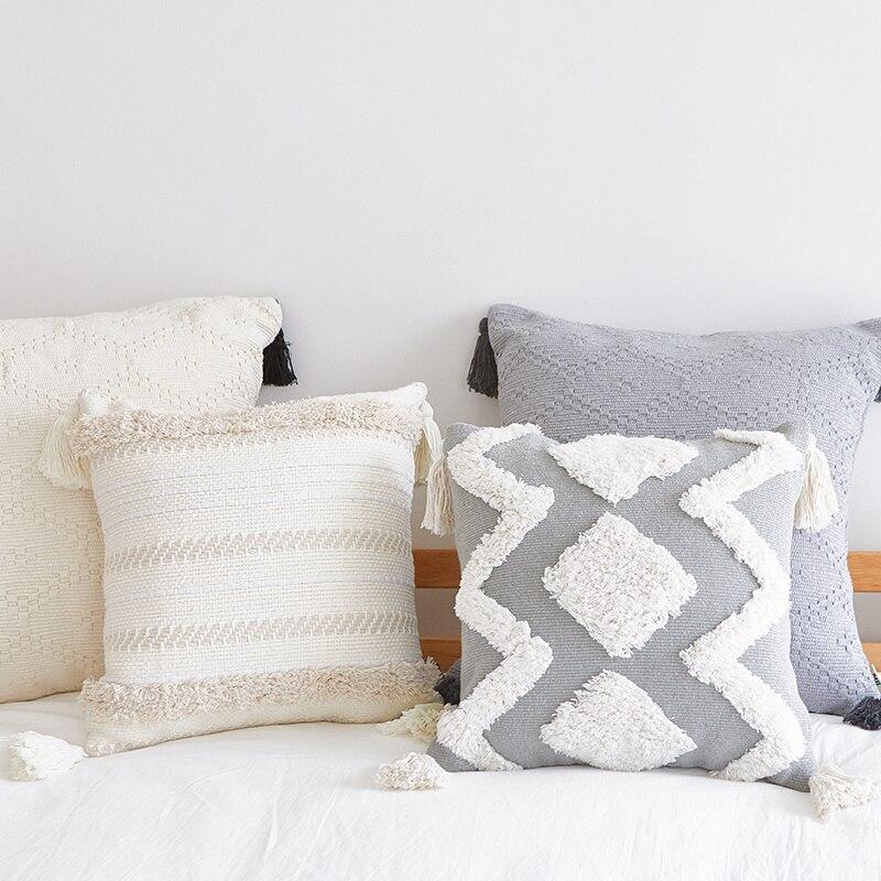 chair cushion nordic modern home decor minimalist pillowcase tufted tassel morocco gray seat cushion pillow waist
