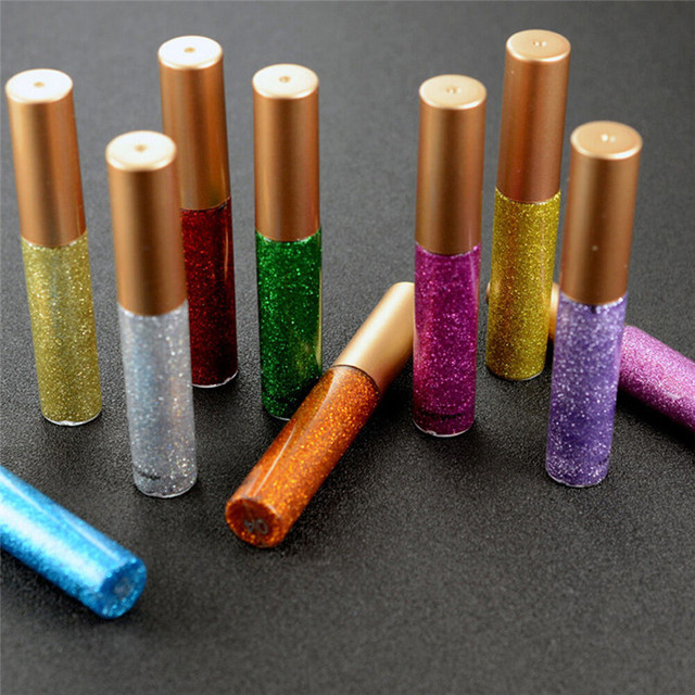 10 Colors Liquid Glitter Eyeliner Women Makeup Waterproof Eye Liner Easy to Wear Pigmented Red White Gold Korean Cosmetics TSLM2 4