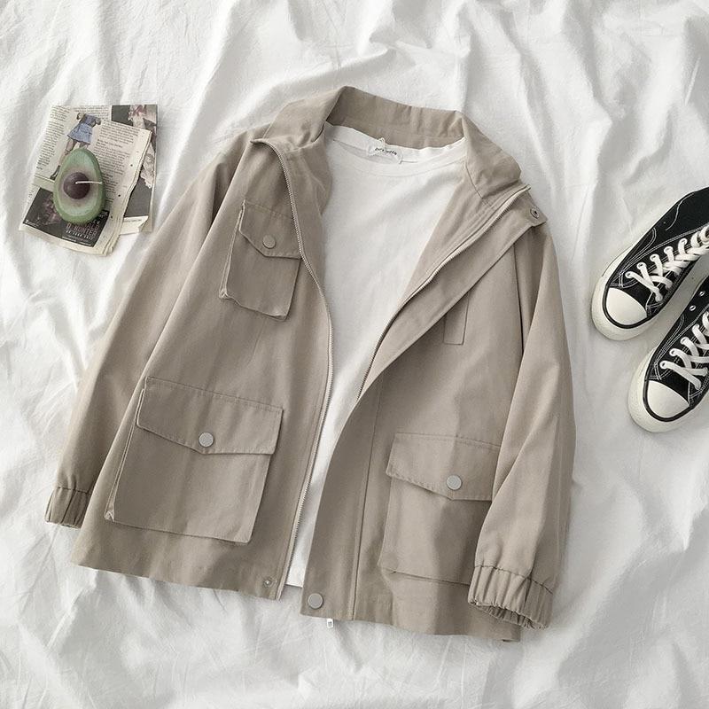 Safari Style Harajuku Coat Female Casual Turn-down Collar Oversize Boyfriend Style Jacket Female Loose Street Fashion Outwear