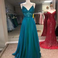 Elegant Long Prom Dresses with Spaghetti Straps Lace Appliques Top Chiffon A Line Formal Party Evening Gown Vestidos de fiesta